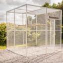 KNL Volieren´s 2x2x2 voliere med termoplde som tag på1x2 meter samt en foderkarrusel i rustfristål